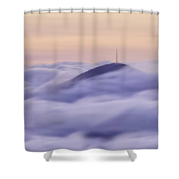 Mount Pisgah In The Clouds Shower Curtain by Rob Travis