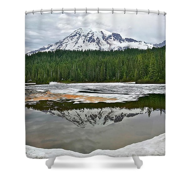 Mount Rainier From Reflection Lakes Shower Curtain