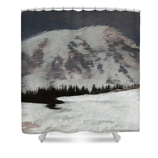 Mount Rainier Reflection In Spring Shower Curtain
