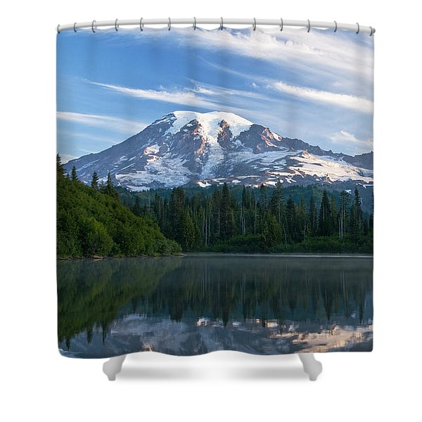 Mount Rainier Reflections Shower Curtain