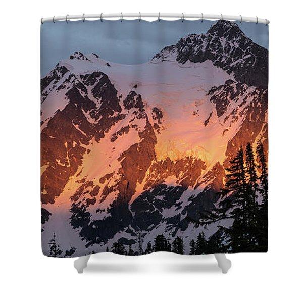 Mount Shuksan Brilliant Alpenglow Shower Curtain