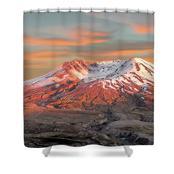 Mount St Helens Sunset Washington State Shower Curtain