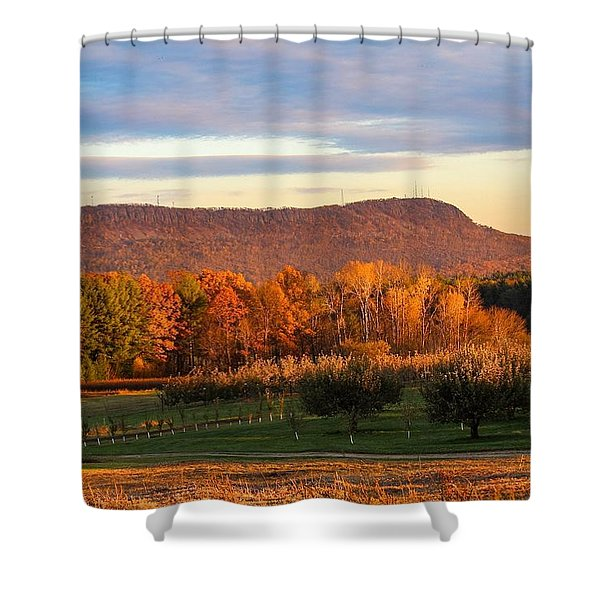 Shower Curtain featuring the photograph Mount Tom Foliage View by Sven Kielhorn