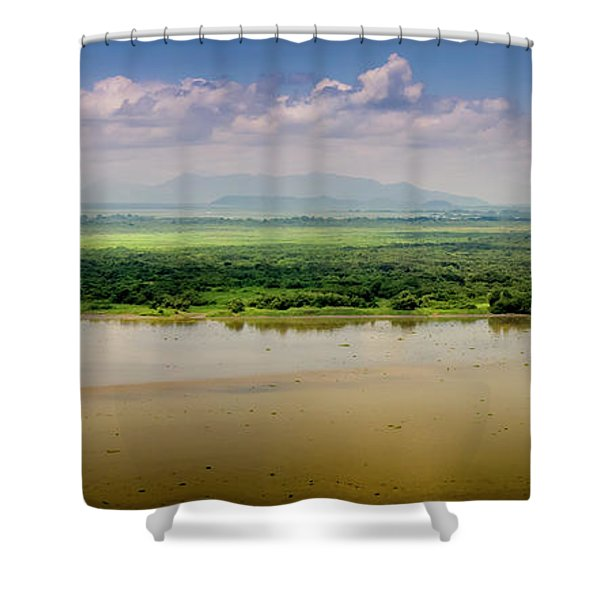 Mountain Beyond The River Shower Curtain