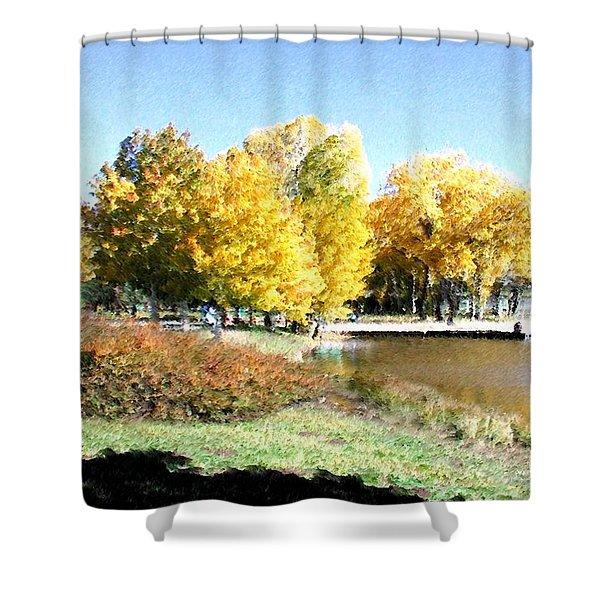 Shower Curtain featuring the digital art Mountain Lake Autumn by Deleas Kilgore