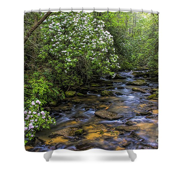 Mountain Laurels Light Up Panther Creek Shower Curtain