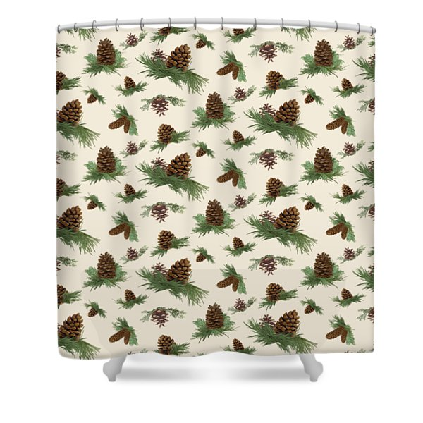 Mountain Lodge Cabin In The Forest - Home Decor Pine Cones Shower Curtain