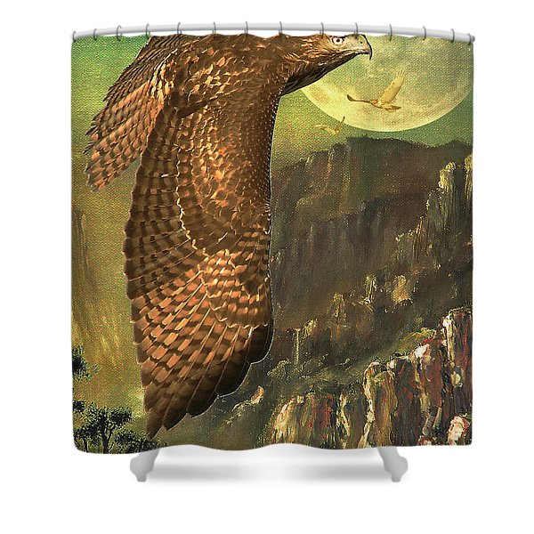 Mountain Of The Hawks Shower Curtain by Wingsdomain Art and Photography