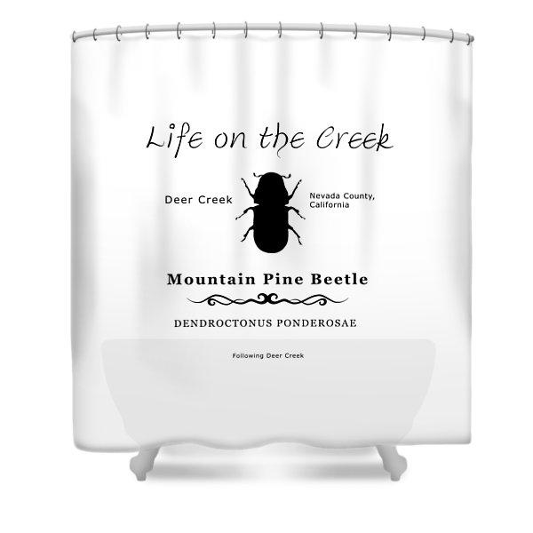 Mountain Pine Beetle Black On White Shower Curtain