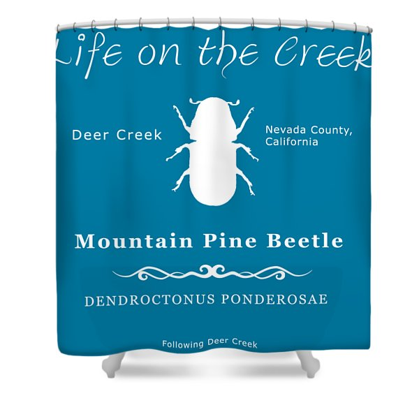 Mountain Pine Beetle White On Black Shower Curtain