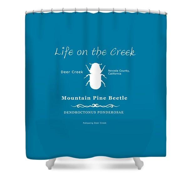 Mountain Pine Beetle White On Black Shower Curtain