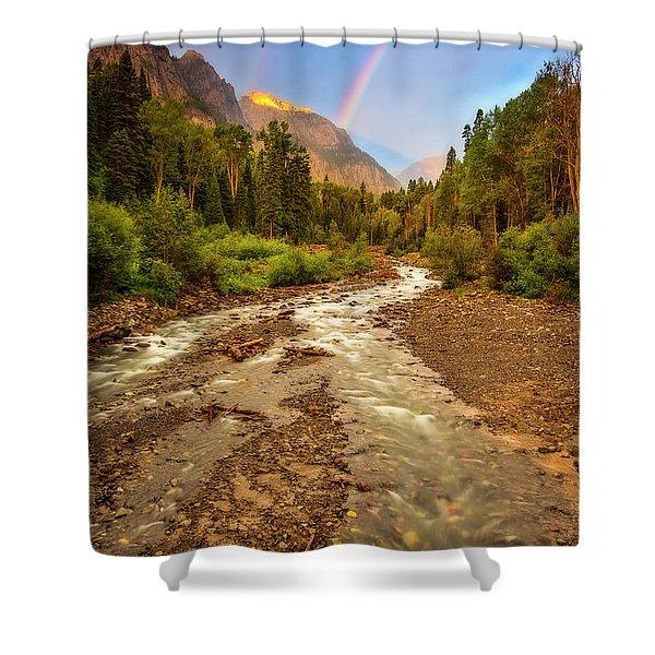 Mountain Rainbow Shower Curtain