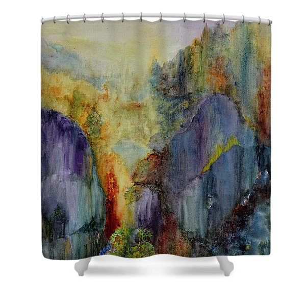 Shower Curtain featuring the painting Mountain Scene by Karen Fleschler
