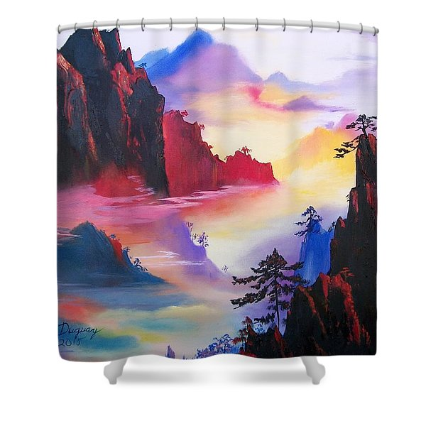 Mountain Top Sunrise Shower Curtain