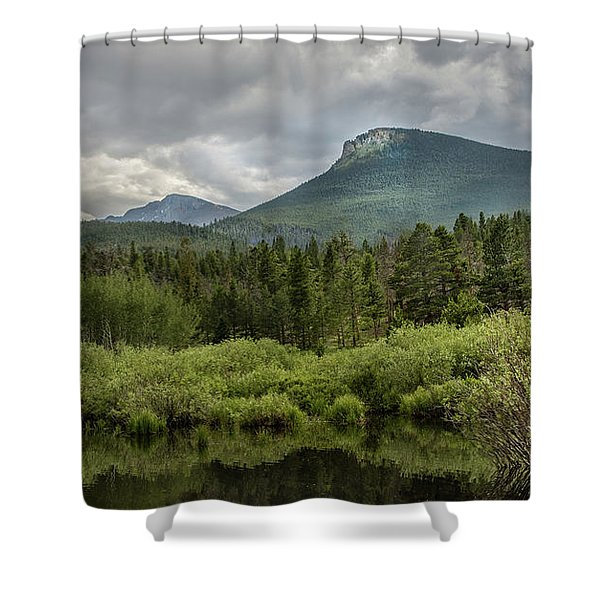 Mountain View From The Marsh Shower Curtain