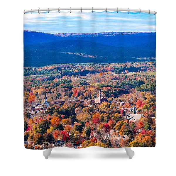 Shower Curtain featuring the photograph Mountain View Of Easthampton, Ma by Sven Kielhorn