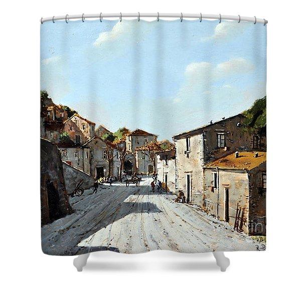 Mountain Village Main Street Shower Curtain