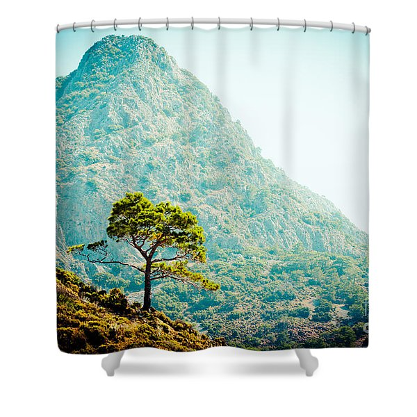 Shower Curtain featuring the photograph Mountain With Pine Artmif.lv by Raimond Klavins