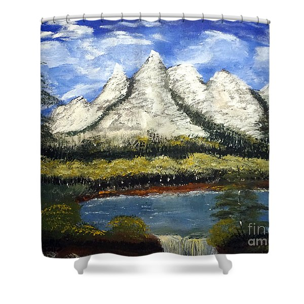 Mountains And Evergreens Shower Curtain