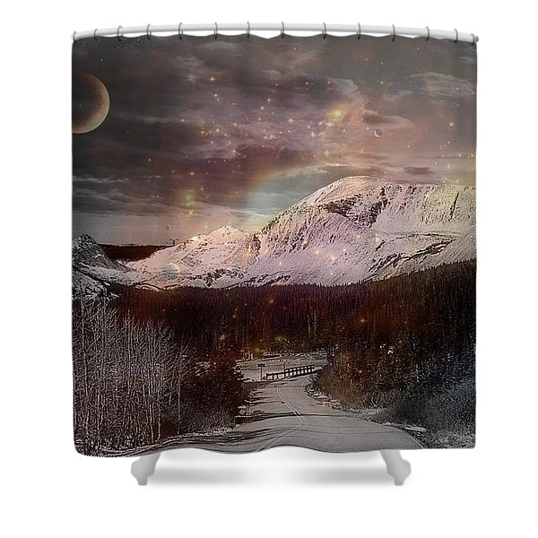 Mountains In Moonlight Shower Curtain