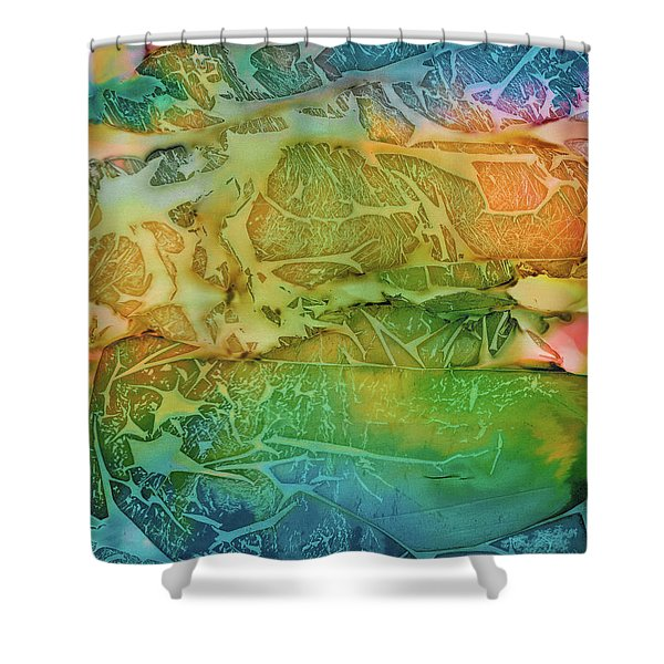 Mountains, Trees, Icy Seas Shower Curtain