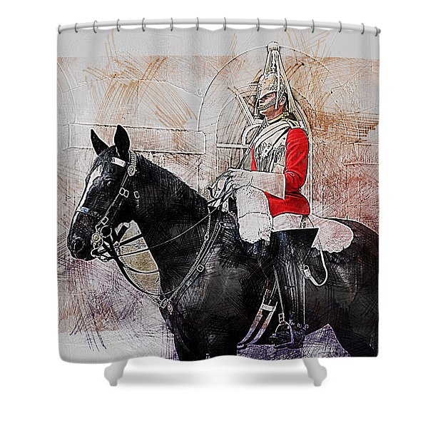 Mounted Household Cavalry Soldier On Guard Duty In Whitehall Lon Shower Curtain