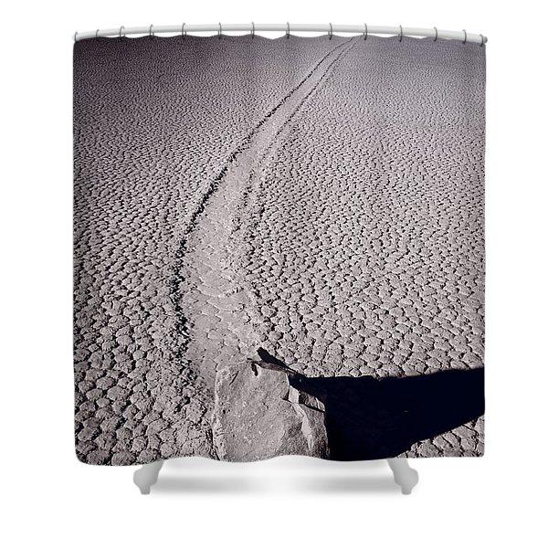 Moving Rocks Number 2  Death Valley Bw Shower Curtain by Steve Gadomski