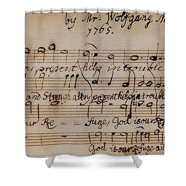 Mozart: Motet Manuscript Shower Curtain