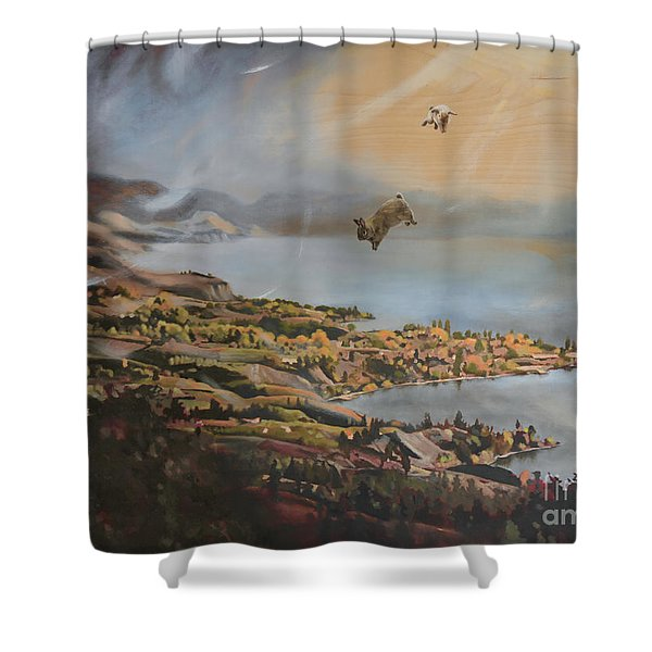 Mr And Mrs Bunbuns Go To Heaven But Then Decide To Move Back To Naramata Shower Curtain