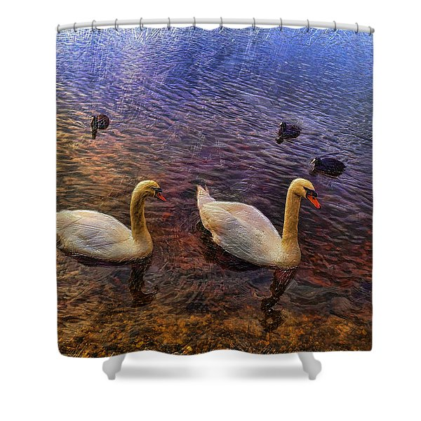 Mr And Mrs Swan Go Viisiting Shower Curtain