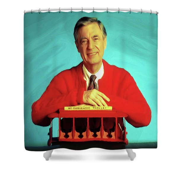 Mr Rogers With Trolley Shower Curtain