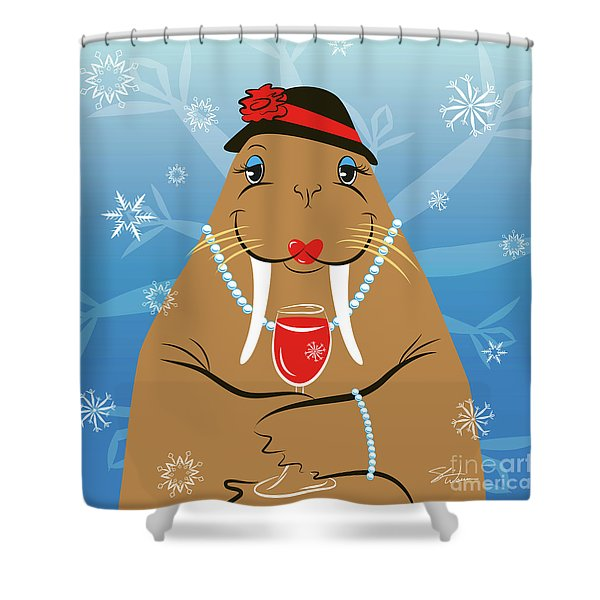 Mrs. Walrus Shower Curtain