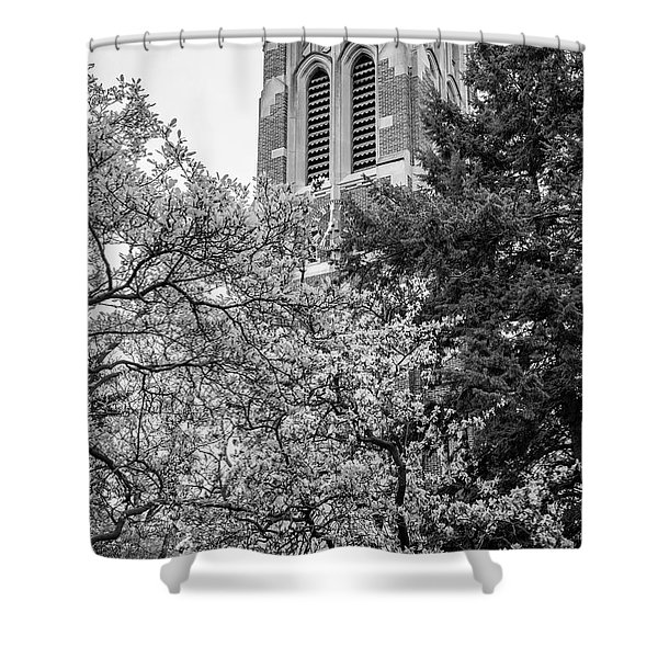 Msu Beaumont Tower Black And White 3 Shower Curtain