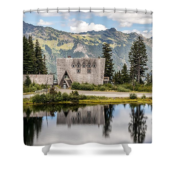 Mt Baker Lodge In Picture Lake 1 Shower Curtain