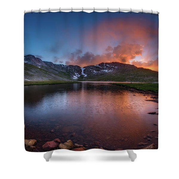 Mt. Evans Summit Lake Twilight Shower Curtain