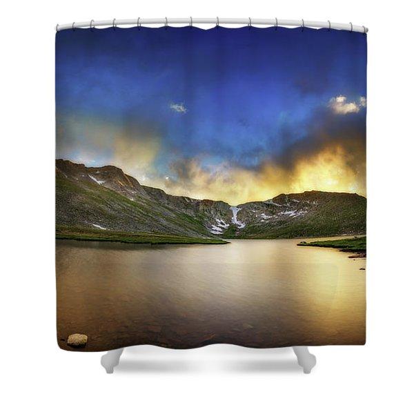 Mt. Evens Summit Lake Sunset Shower Curtain