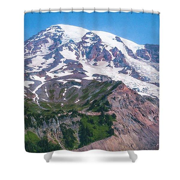Mt Rainier Closeup Shower Curtain