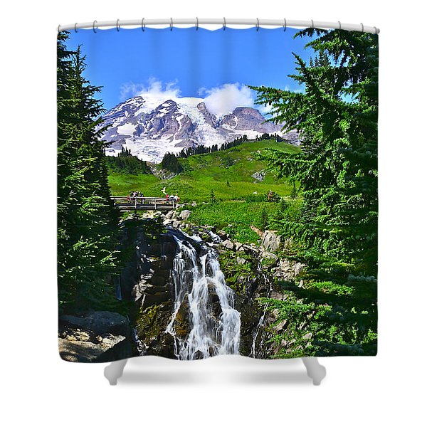 Mt. Rainier From Myrtle Falls Shower Curtain