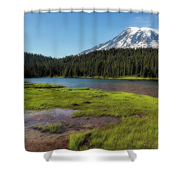Mt Rainier From Reflection Lake, No. 2 Shower Curtain