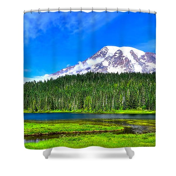 Mt. Rainier From Reflection Lakes Shower Curtain