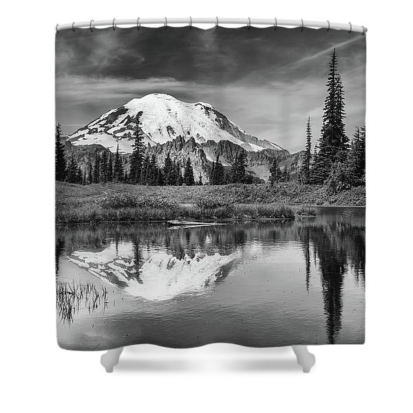Mt Rainier In Reflection Shower Curtain