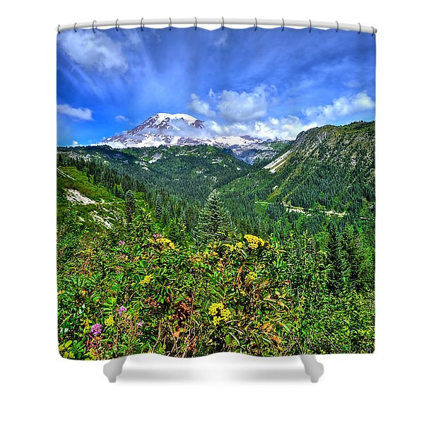 Mt. Rainier Through The Clouds  Shower Curtain