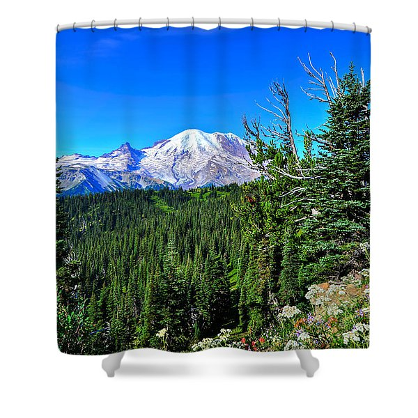 Mt. Rainier Wildflowers Shower Curtain