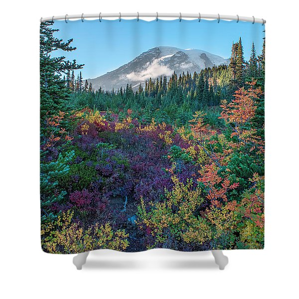 Mt Rainier With Autumn Colors Shower Curtain