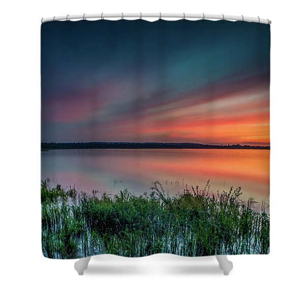 Mud Bay Sunset 4 Shower Curtain