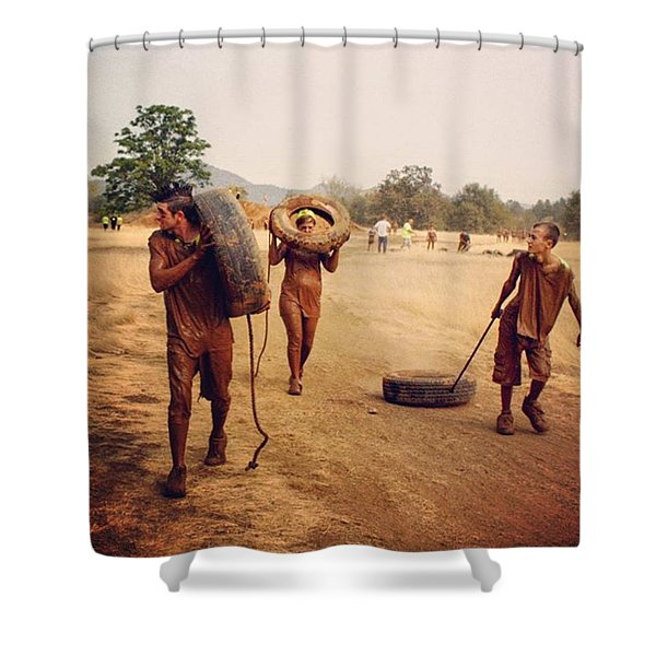 #muddy #mud #mudrun #tires #walking Shower Curtain