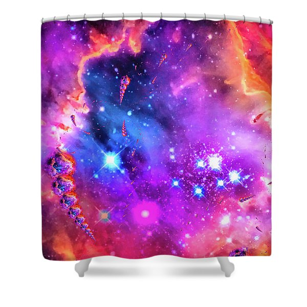 Multi Colored Space Chaos Shower Curtain