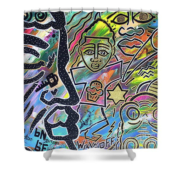 Multi-dimensional Beings Stepping Out The Body Walking Through The Cosmos Shower Curtain