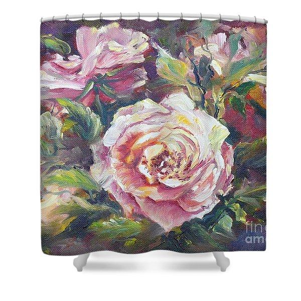 Multi-hue And Petal Rose. Shower Curtain