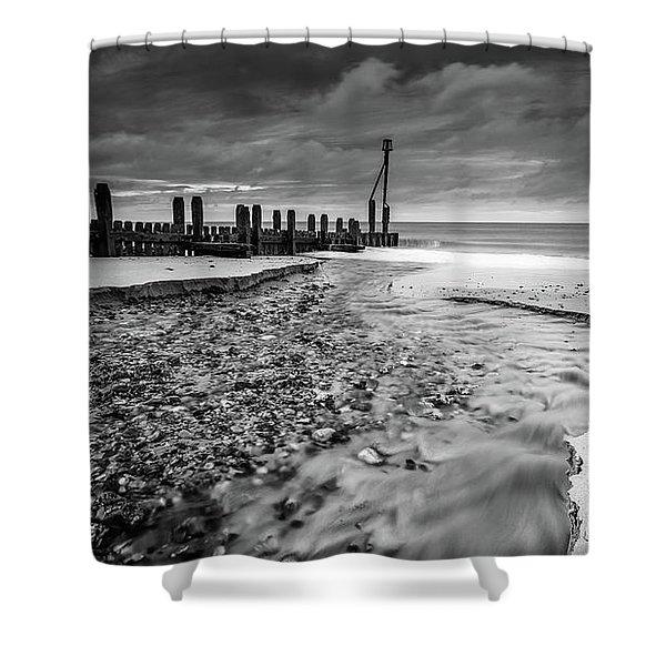Mundesley Beach - Mono Shower Curtain